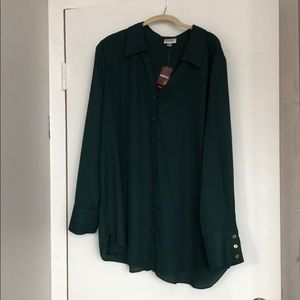 NWT Green Button up Tunic